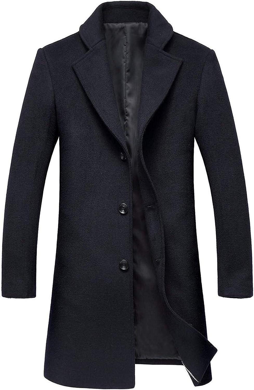 Ssjjsacv Men's Classic Gentlemen Notched Collar Single Breasted Long Wool Business Pea Coat