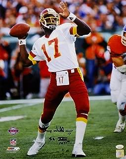 Doug Williams Autographed Washington Redskins 16x20 About to Pass PF Photo w/SB MVP - JSA W Auth Black