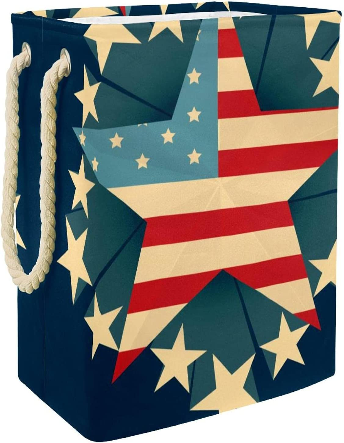 Luxury goods Laundry Hamper Creative Max 59% OFF American Flag Stars Navy Linen Foldable