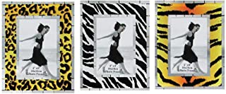 Rockin Gear Glass Photo Frames - Pack of 3 Safari Animal Print Wall and Table Top Picture Frames - Holds a 4