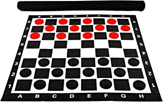 """MegaChess 3 Inch Giant Plastic Checkers Set with 28"""" x 28"""" Vinyl Board"""