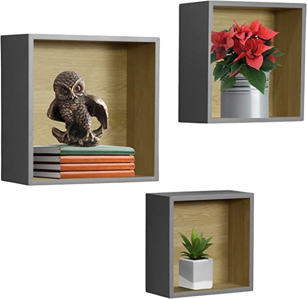 Sorbus Floating Shelf Square Cube Set Wall Mounted Shelves Decorative Hanging Display For Collectibles Photos Frames Plants Etc Set Of 3 Grey