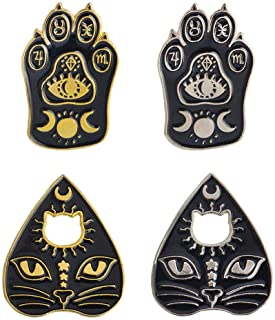 Comidox 4PCS Gothic Magic Cat Paw/Cat Face Brooch Enamel Lapel Pin Witch Footprints Moon Star Brooch Badge Unisex