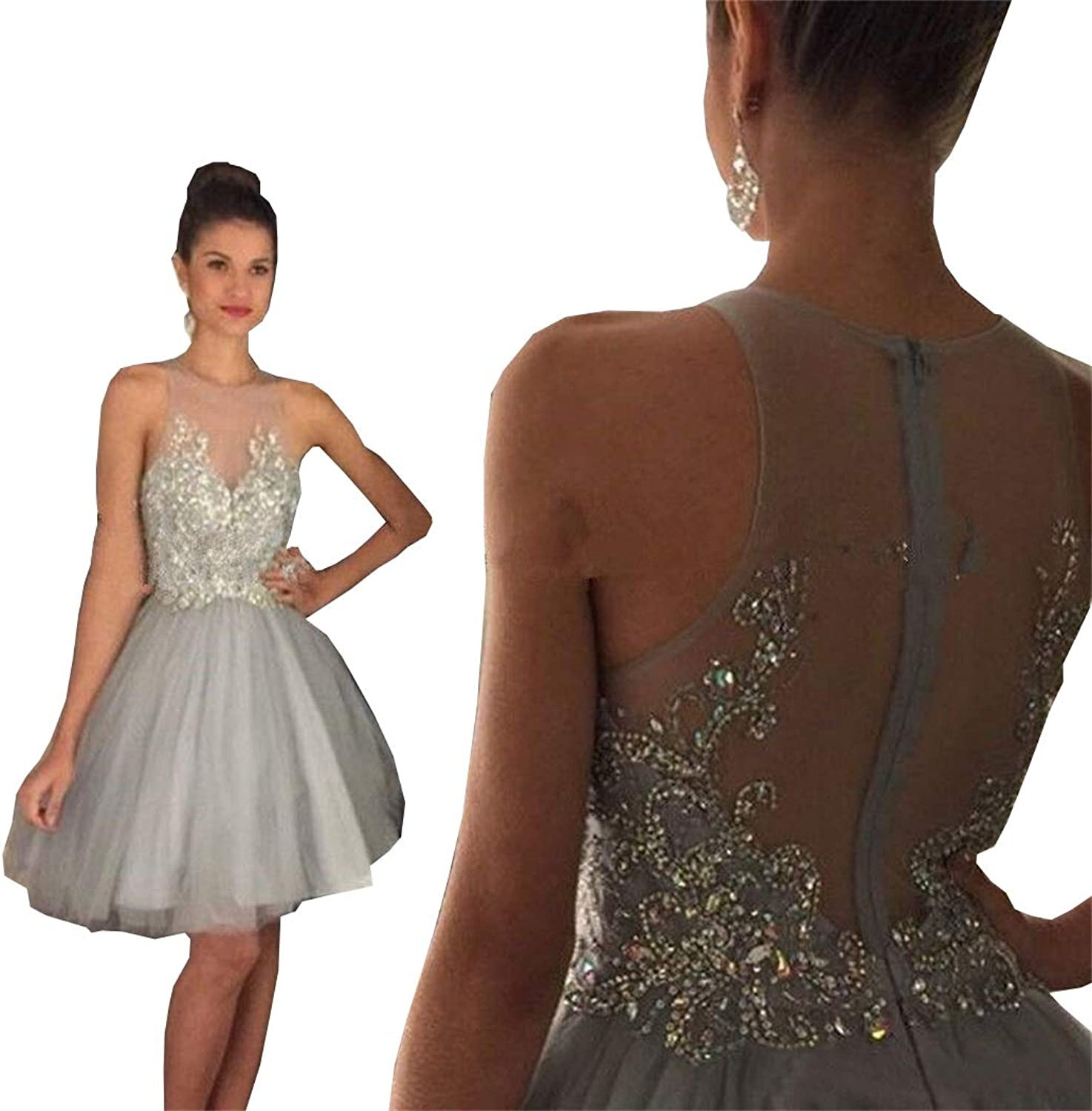 Ellystar Jewel Neck Short Homecoming Dresses Beaded Crystal Graduation Dresses