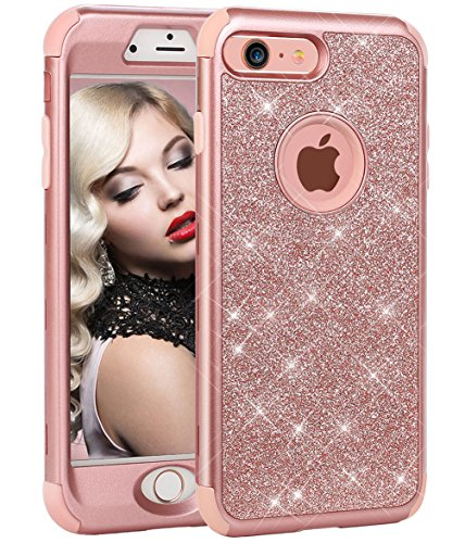 for iPhone 6 Plus Case,for iPhone 6s Plus Case, WORLDMOM 3 in 1 Sparkle Bling Heavy Duty Hybrid Sturdy Armor Defender Shockproof Protective Cover Case for iPhone 6 Plus/iPhone 6s Plus-Rose Gold