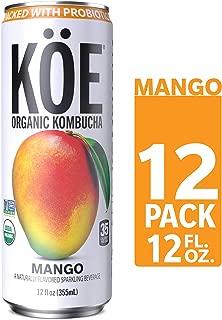 KÖE Kombucha | Sparkling Mango | Packed with Probiotics | Vegan, Gluten Free, Non GMO Project Verified, USDA Organic, Kosher | 12oz. Cans (12 Pack)
