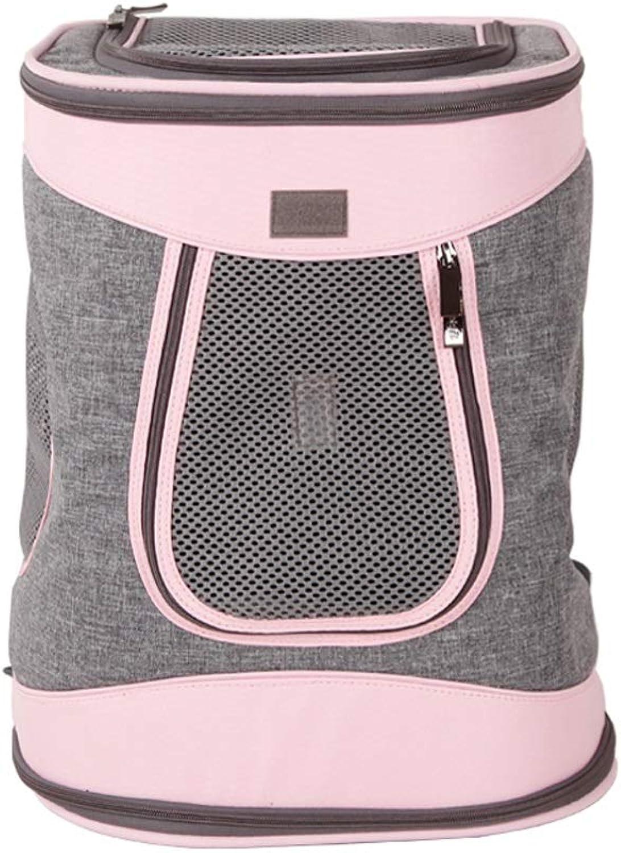 Pet Backpack Out Shoulder Bag Dog Backpack Cat Backpack Out Carrying Bag Cat Bag Travel Bag (color   Pink)