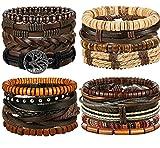 BESTEEL 17PCS Bracelets en Cuir pour Hommes Femmes tressé Bracelet Corde Wrap à la...