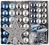 HEITMANN DECO Noël - Lot de 50 décorations pour Sapin de Noël - Boules, chaîne de Perles, étoiles, Pommes de pin, cime en Forme d'étoile - Décorations pour Arbre de Noël - Bleu et Argent