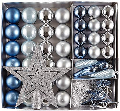 HEITMANN DECO Krebs & Sohn Set di 50 Palline di Natale - Albero di Natale Deco Appeso - Palle di Natale - Argento Blu