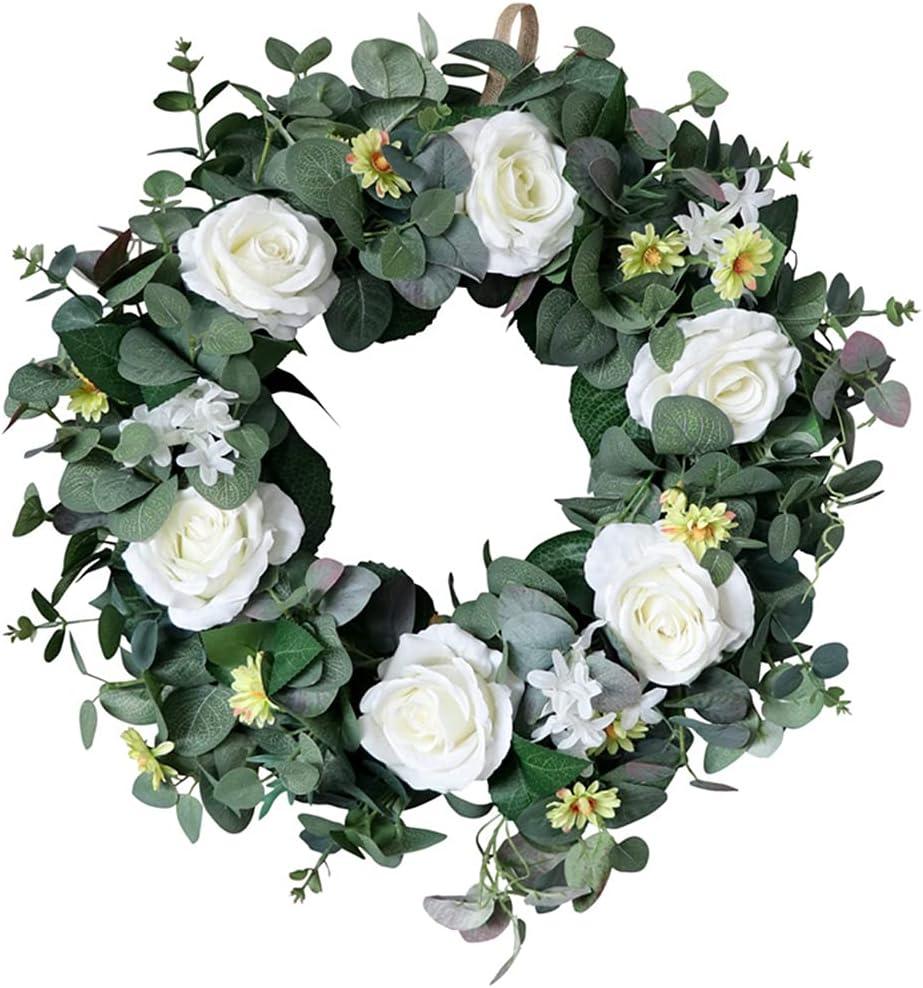 KerDejar 22 Inch Artificial Eucalyptus Rose Limited time Luxury sale Leaf Green Wreath Ga