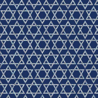 Silver Stars of David on Blue Gift Wrapping Paper - 24' x 15' Roll Wrap Hanukkah