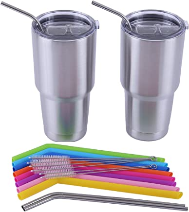 LIFNY 8Pcs Reusable Silicone Straws Smoothie Straws and 4Pcs Stainless Steel Straws for 30Oz Rtic/Yeti Tumblers+6Pcs Cleaning Brushes+2 Storage Pouches