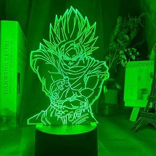 Lámpara de ilusión 3D Luz de noche Led Dragon Ball Z Figura de Goku para decoración de habitación de niños Regalo de cumpleaños único para niños Gadget de anime-16 colors remote
