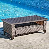 SUNSITT Outdoor Wicker Coffee Table with Waterproof Cover, Dark Grey Synthetic Rattan Wicker Patio Table with Slat Top