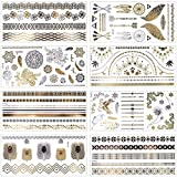 MelodySusie Temporäre Klebe-Tattoos Körper Tattoos mit 100+ Motiven, Metallic Flash tattoos in...