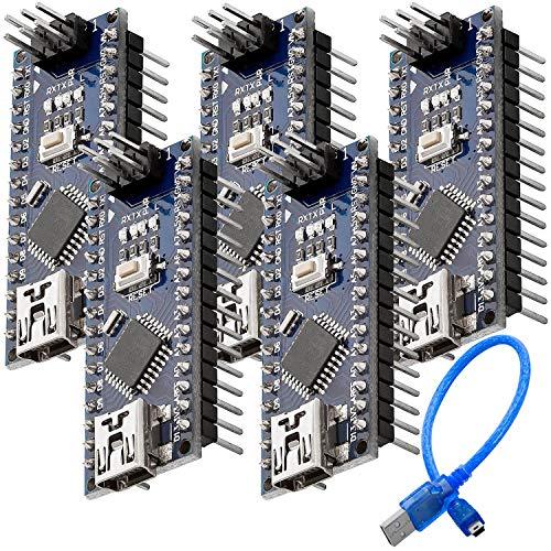 AZDelivery 5 x Nano V3.0 CH340 Chip fertig verlötete, verbesserte Version mit USB Kabel, 100% Nano V3 kompatibel inklusive E-Book!