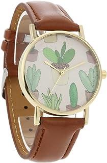 Women Watches Fashion Plant Cactus Pattern Leather Band Quartz Vogue Watches