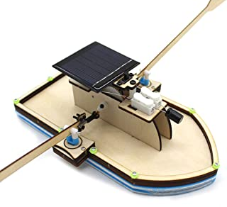 CMrtew ❤️ Solar Powered Boat DIY Model Robot Boat Ship Puzzle Educational Toy Kit Kid Model Robot (As Shown, 195x100x70mm)