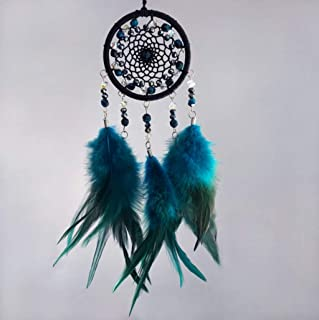 GUOG Handmade Dream Catcher Car Ornaments Feathers Wind Chimes Crafts Home Wall Decorations Dream Catchers Birthday Presents Black and Blue