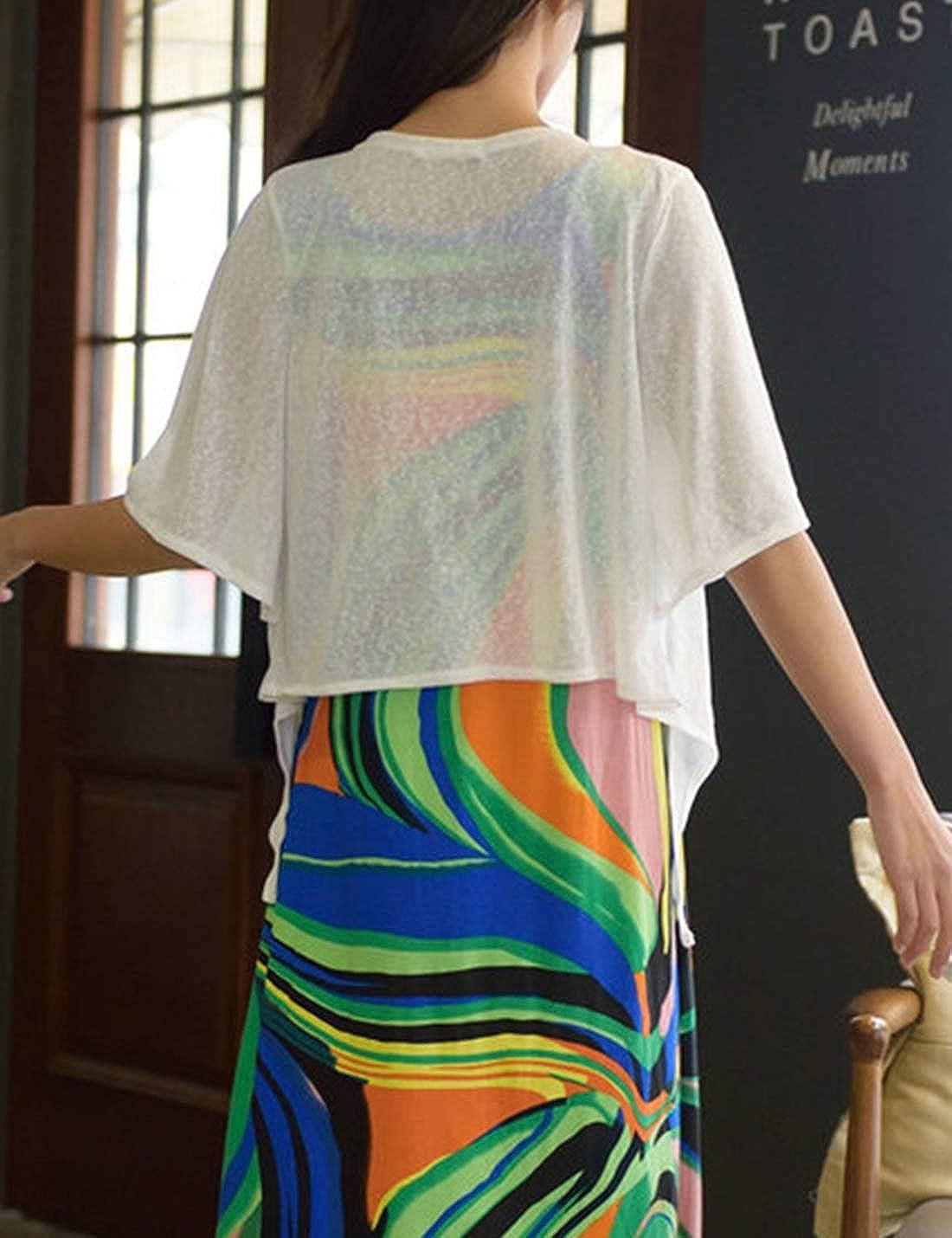 PEHMEA Women's Open Front Cardigan Casual Half Flare Sleeve Tie Front Bolero Shrug(White, x-Large)