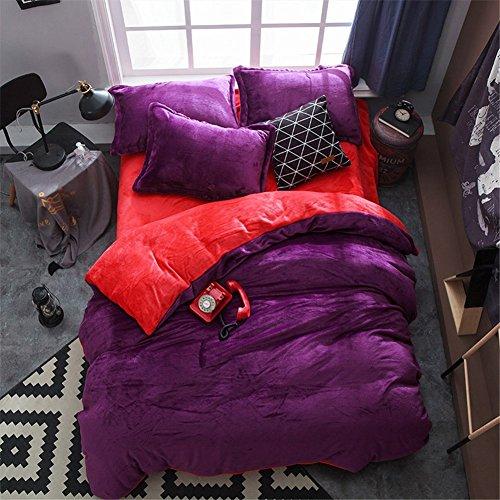 BB.er Flannel ensemble de literie automne et hiver épais chaud loi velours couleur unie textile de maison literie collection, Deep purple Red Red, 200x230cm