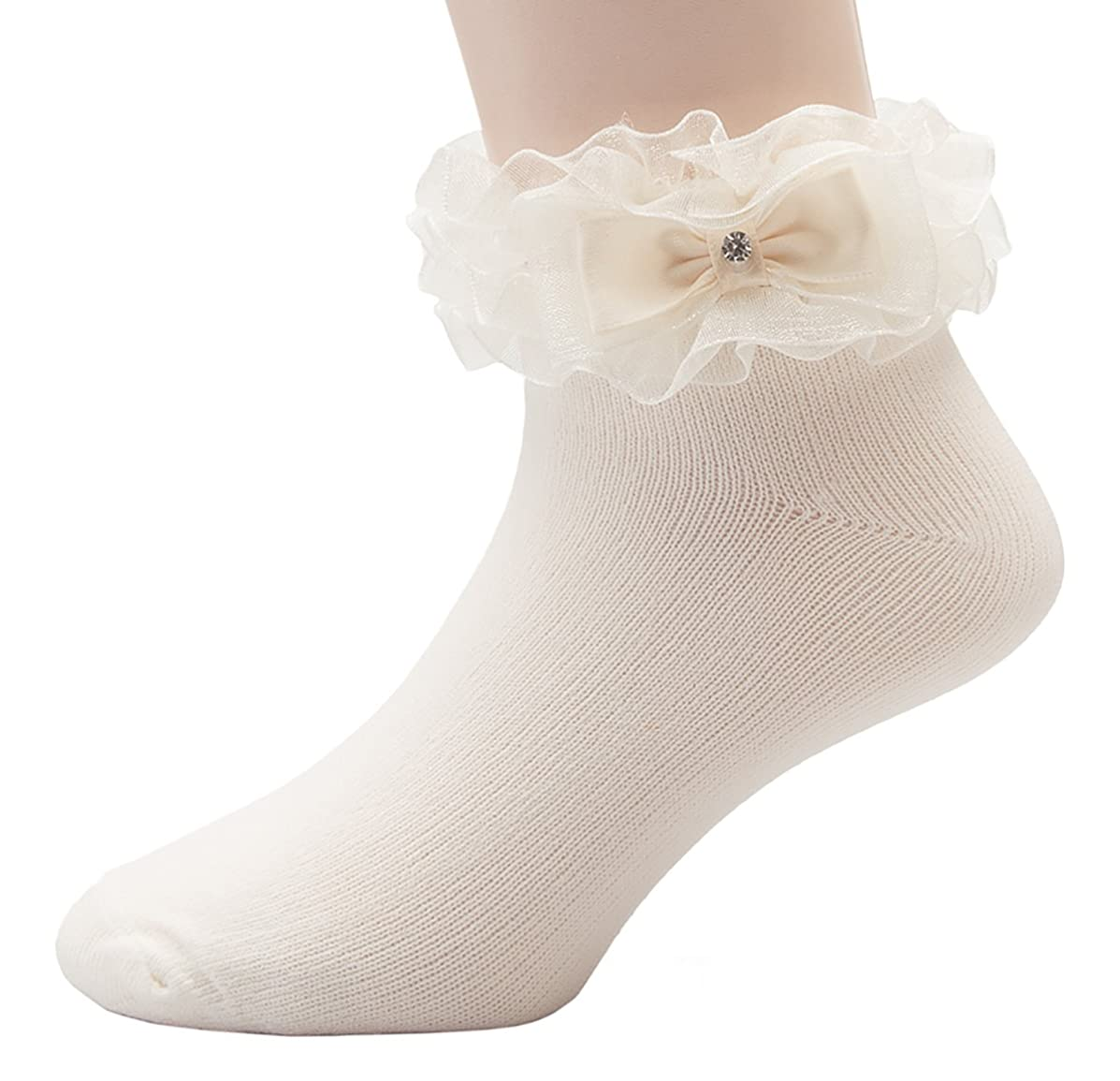 OLIVIA KOO Girl's Organza Multi Ruffle Top Anklet Socks (Infant to 11 Years)