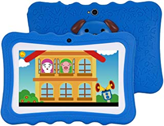 Grborn Q728 Quad Core 7inch Tablets PC WiFi Educational Learning Computer for Children Kids Android 4.4 with Silicone Case Blue US Plug