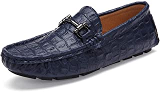 XinQuan Wang Men's Leisure Drive Loafer Rubber Sole Excellent Soft Crocodile Skin Texure Bland Heel Wave Sole Moccasins Shoes (Color : Blue, Size : 8 UK)
