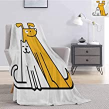 Tr.G Cartoon Bedding Microfiber Blanket Cats and Dogs Human Best Friends Forever Kids Nursery Room Art Print Super Soft and Comfortable Luxury Bed Blanket W70 x L90 Inch Black White and Apricot