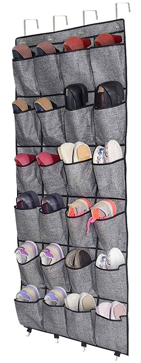 Over The Door Shoe Organizer,Hanging Shoe Holder with 24 Extra Large Fabric Pockets for Storage Men Sneakers,Women High Heeled Shoes,Slippers Beige with Black Printing 61.4''x22''