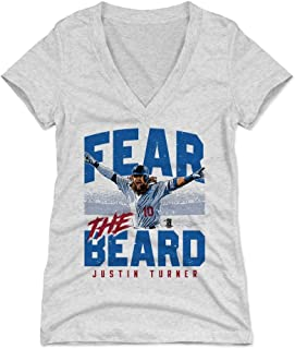 500 LEVEL Justin Turner Women's Shirt - Los Angeles Baseball Shirt for Women - Justin Turner Fear The Beard