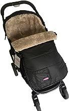 Funlif 100% Australian Sheepskin Footmuff Baby Bunting Bag Adaptable for Strollers Snuggle Pod Sheepskin Black Shell with Grey Sheepskin