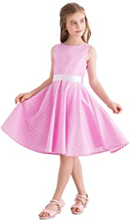 FiftiesChic Kids Sleeveless 100% Cotton Polka Dot Floral 50s Vintage Rockabilly Swing Dress