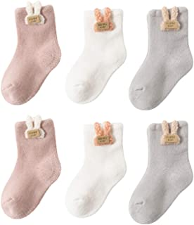 Ruby569y, 3 pares de calcetines de invierno para bebé, de algodón, color sólido con bonito adorno de animal, de rizo grueso, de algodón, para bebés, niños, niñas, de 0 a 3 años, conejo, M