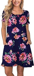 72a82c183f26 KORSIS Women's Summer Casual T Shirt Dresses Short Sleeve Swing Dress with  Pockets