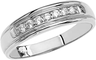 10k White Gold Diamond Men's Wedding Band