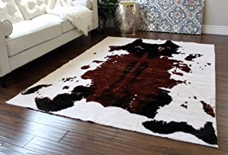 Masada Rugs, Faux Fur Cowhide Area Rug Brown White (5 Feet X 7 Feet)