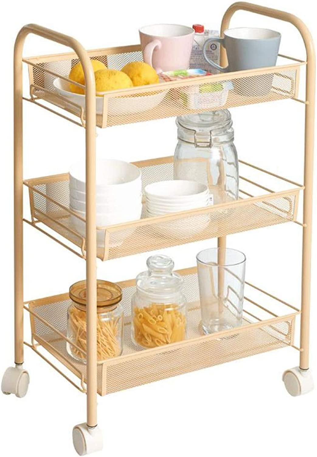 Serving Trolley Cart Kitchen Restaurant Movable Metal Net Universal Wheel Portable with Guardrail, Carrying Capacity 15kg Per Tier, 3 Sizes (color   Yellow, Size   45 x 27 x 63 cm)