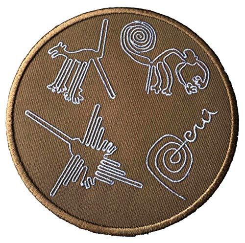 Nazca Lines Peru Aufnäher zum Aufbügeln oder Aufnähen, 10 cm, Souvenir für Reisen Urlaub Nationalpark Adventure Explorer Wonders of the World Serie Emblem Badge Applikation