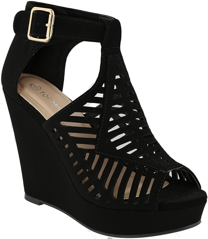 Top Moda Women's Abella-3 Gladiator Cutout Ankle Strap Open Toe Wedge Sandal