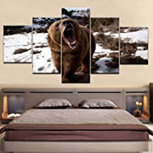 ZZHPlanet Paisaje Canvas HD Prints Poster Home Wall Art 5 Piezas Animal Brown Bear Snow Paintings Abstract Pictures Living Room Decor Framework