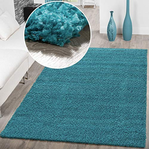 T&T Design Hochflor Shaggy Teppich Preishammer Uni Einfarbig in Türkis Modern, Größe:140x200 cm