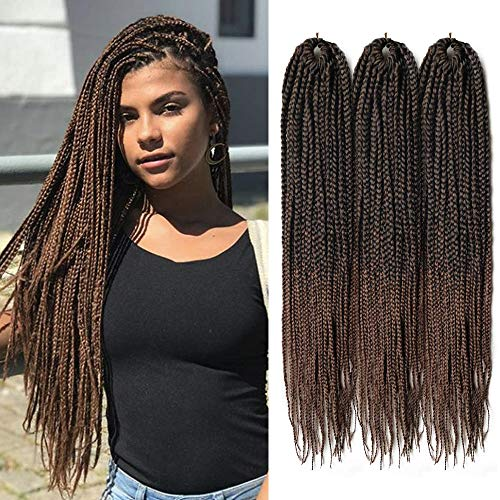 6Pcs Box Braid Crochet Hair 22inch Long Medium Box Crochet Hair Ombre Mambo Braiding Hair Synthetic Jumbo Box Braiding Hair Extensions(#1B/30)
