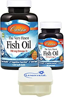Carlson Fish Oil The Very Finest 700 mg Omega 3 - Orange Flavor - 120 + 30 Soft Gels (150 Ct Total) Bundle with a Lumintrail Pill Case