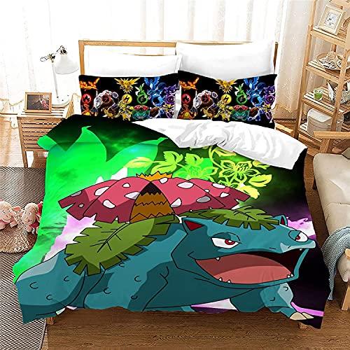 AQEWXBB P-ika-chu Juego de ropa de cama muy suave y cómodo, funda nórdica y funda de almohada, ¿es el favorito de los niños? Juego de 3 piezas (Pokemon 4,140 x 210 cm + 50 x 75 cm x 2)
