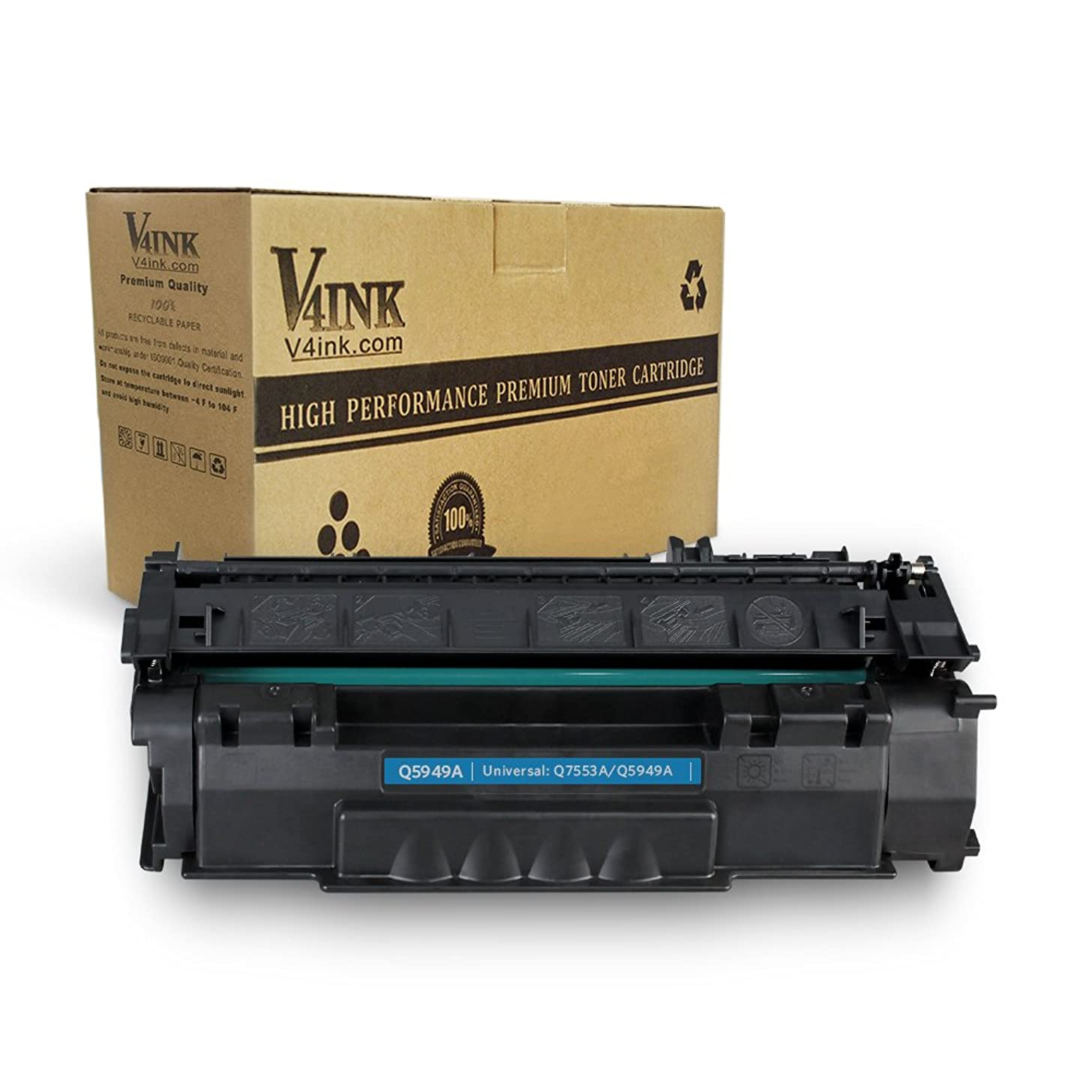 V4INK Compatible Toner Cartridge Replacement for HP Q5949A 49A Q7553A 53A for use with HP Laserjet 1320 1320n P2015dn P2015 P2015n 3390 3392 1160 P2014 M2727nf MFP Printer (Black,1 Pack)