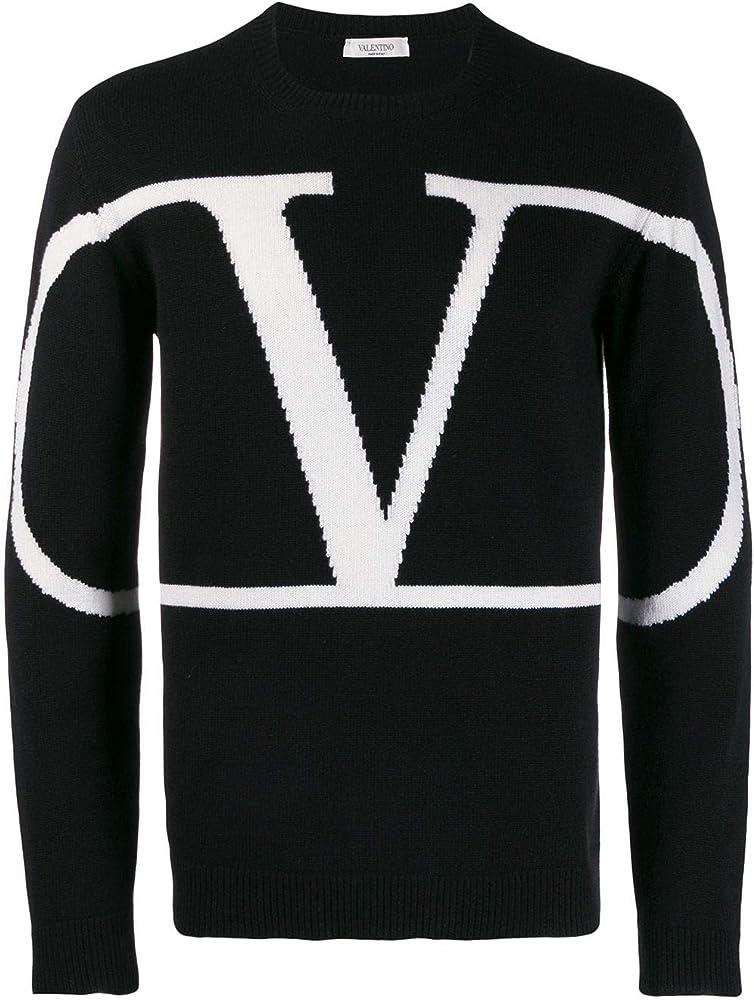 Valentino garavani, vlogo  sweater black/white, pullover in cashmere, made in italy,taglia xl TV3KC03V5FF671