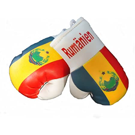 Sportfanshop24 Mini Boxhandschuhe RumÄnien 1 Paar 2 Stück Miniboxhandschuhe Z B Für Auto Innenspiegel Auto