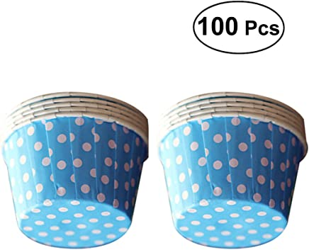 BESTONZON 100pcs Cupcake Paper Baking Cups Muffin Wrapper Liners Cake Cases Mould (Blue Wave Point)